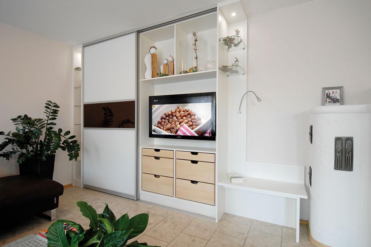 Wohnzimmerschrank mit raumplus-Schiebetüren - Ihr Schreiner Thaler