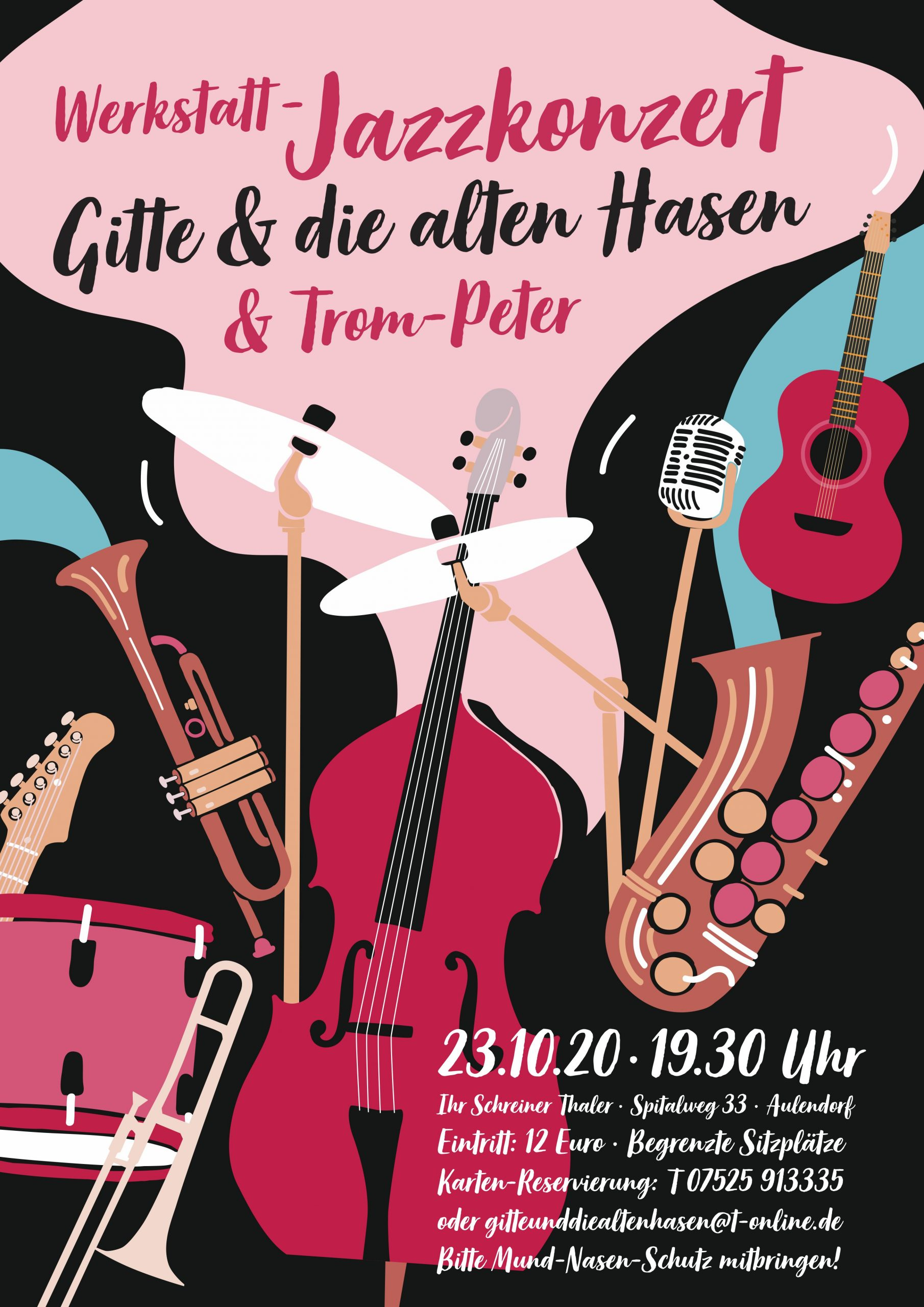 """Herzliche Einladung zum Werkstatt-Jazzkonzert """"Gitte und die alten Hasen"""" mit Special Guest """"Trom-Peter"""" aus Freiburg"""